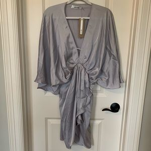 DO+BE Silver Gray Satin Dress